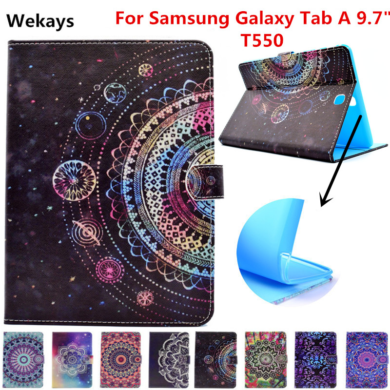 Wekays For Galaxy Tab A 9.7 T550 Leather Stand Fundas Case For Coque Samsung Galaxy Tab A 9.7 T550 T551 T555 Tablet Cover Cases