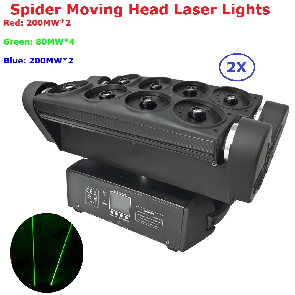 2XLot DHL Shipping Professional Stage Laser Projector 8 Eyes RGB Full Color Spider Moving Head Beam Lights With Carton Package laser sword of the double head laser sword cu guangzhu stage performance props laser rod 100mw