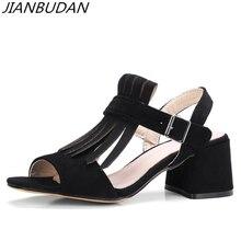 JIANBUDAN High quality Flock womens Rome sandals 2019 new Fashion Fringe heel Sexy Peep Toe Buckle 34-43