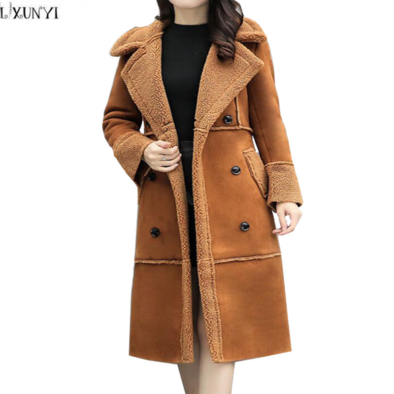 LXUNYI Womens Suede Coats Double Breasted Slim Lambswool Long Cotton-padded jacket 2017 Winter Thick Woman Wadded Coat Plus Size new women parkas jacket winter warm cotton padded coats plus size cold resistance lambswool outwear woman s thick long coat