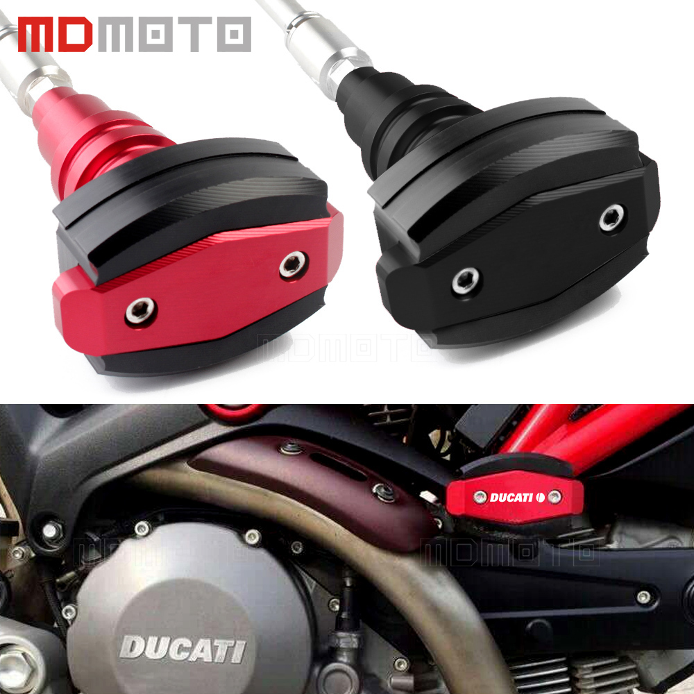 CNC Left&Right Motorcycle EngineFrame Slider Anti Crash Pads Protector for Ducati Monster 696 795 796 1000 Monster Protection motorcycle cnc m20 2 5 magnetic engine oil cap for honda vfr800 vfr800f vfr 800 800f ducati monster 696 ducati monster 796