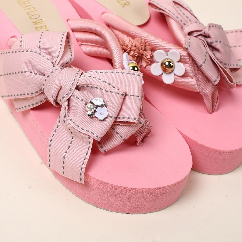 HAHAFLOWER New Flip Flops Women Shoes Handmade Bow Cool Slippers ...