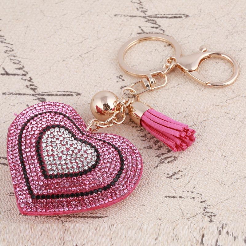 c53025b714318 Heart Key Rings Crysral Gold Color Ball Bag Purse Key Chain Women Cute Love  Pendant Key Holder Jewelry Car Accessories -in Key Chains from Jewelry ...