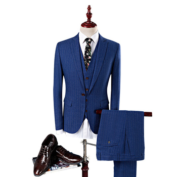 Mens Striped Suit 2019 Slim Fit Men Suits For Wedding Brand Navy Blue Mens Formal Wear 3 Piece Business Suit Q340