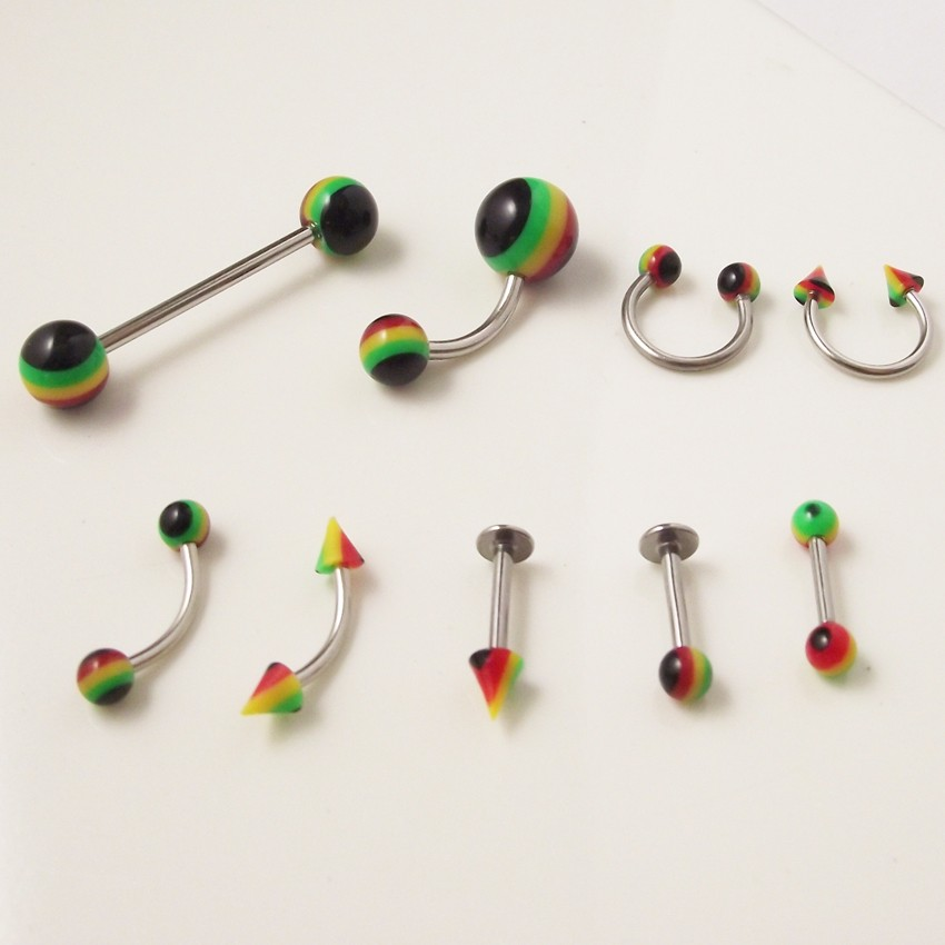 9Pcs/lo Fashion Rainbow Color nose ring Lip Ring Tragus Ear Piercing Helix Body Jewelry Belly Ring Tongue Ring Eyebrow Rings Set