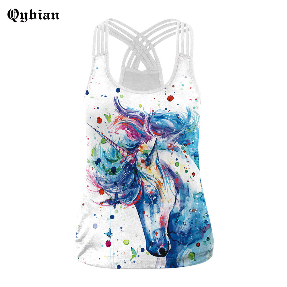 Sexy Tank Top Women Fashion New 3D Print Sleeveless T Shirt Hollow Back Sexy Vest Casual Sporting Tops Slim Femme Camis Tops