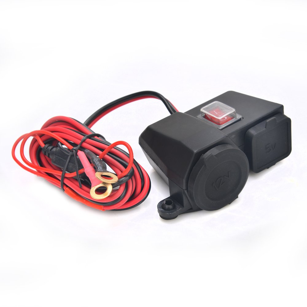 New Motorcycle Motor Waterproof Usb Charger 12v 21a Cigarette Wiring To Lighter Socket Connector With On Off Switch