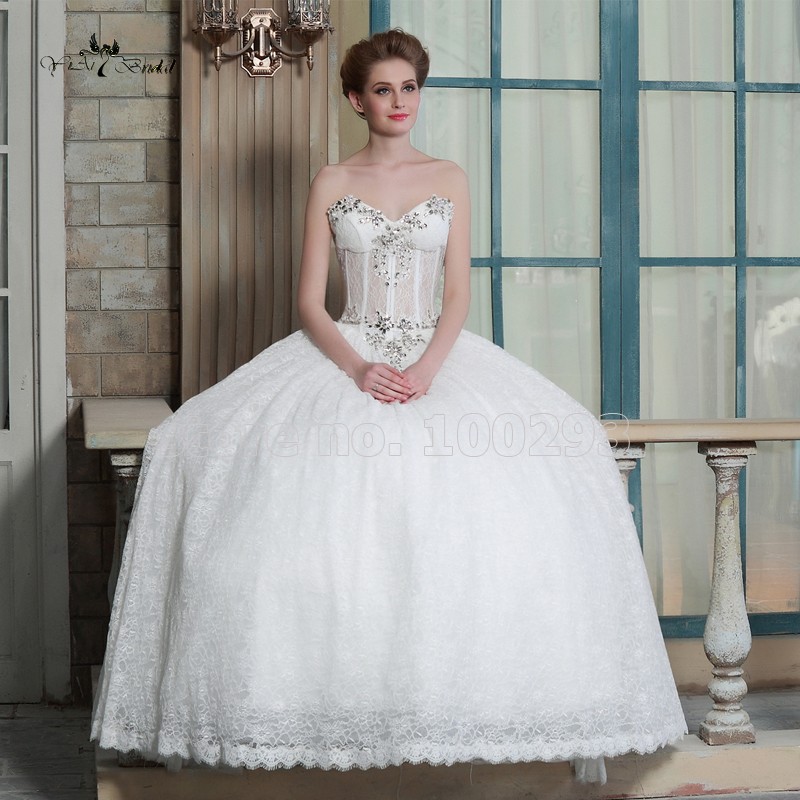 Sexy sheer bodice sweetheart ball lace bling crystals for Sexy corset wedding dress