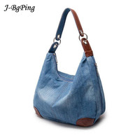 2017New Fashion Large Luxury Handbags Women Bag Designer Ladies Hand Bags Big Purses Jeans BagTote Denim