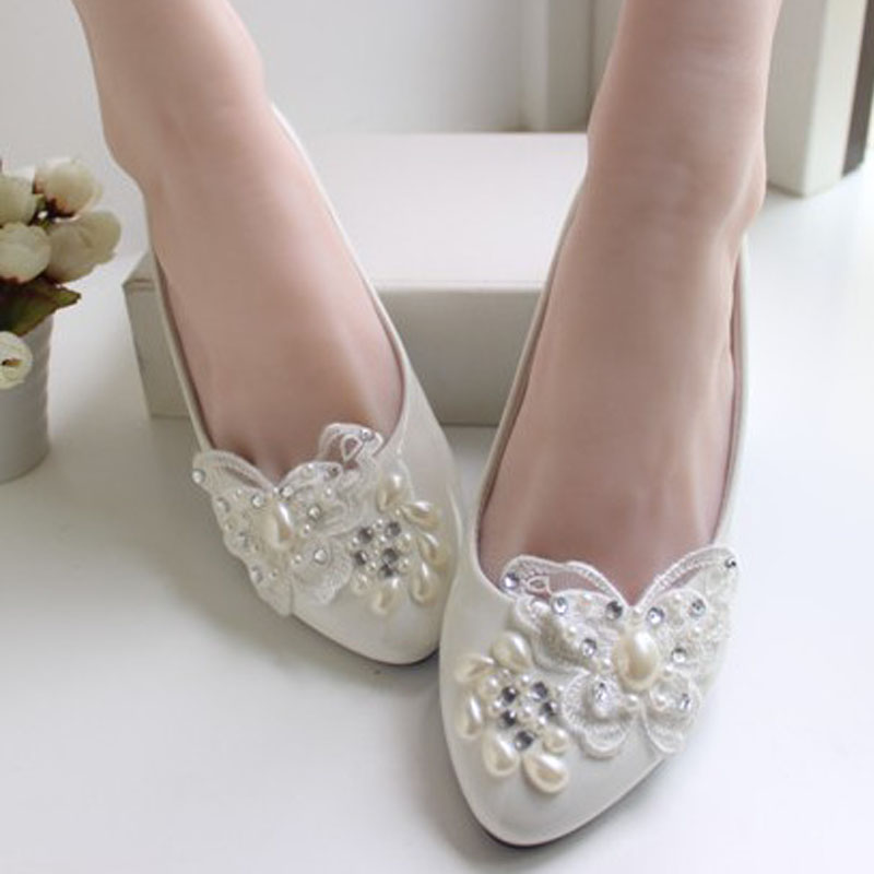 Low Heel White Lace Wedding Shoes Bridal Handmade
