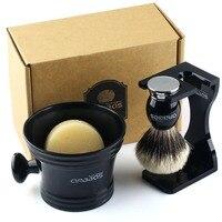 4in1 Shaving Set,Silver tip Badger Shaving Brush Resin Alloy Handle,Acrylic Shaving Stand Bowl Natural Shaving Soap Kit for Men
