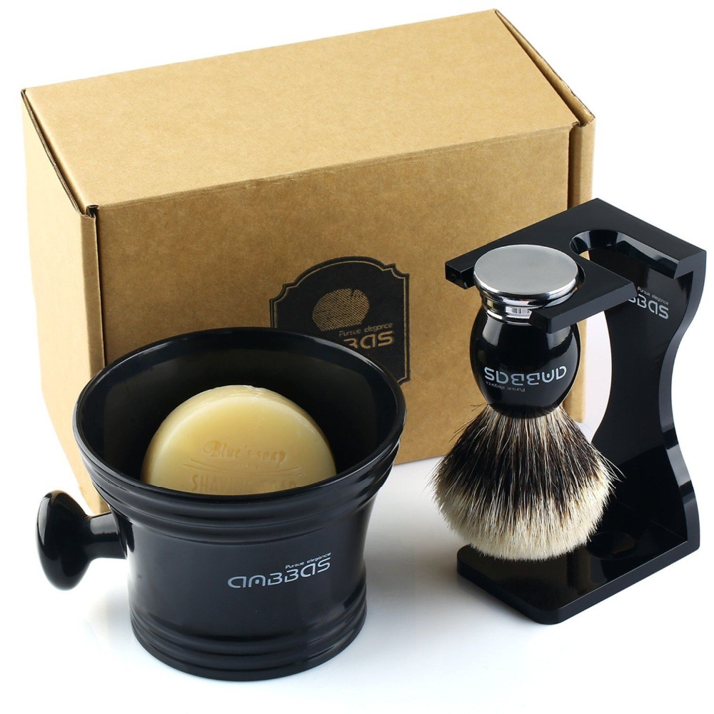 Anbbas 4 in 1 Shaving Kit Badger Silver tip Hair Brush Soap Resin Acrylic Cup Holder Set
