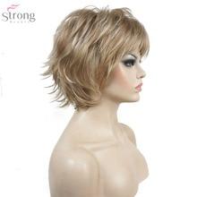 Strong beauty perruque synthétique complète pour femmes, cheveux courts et lisses, rouge vin et noir