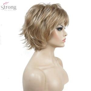 Image 1 - StrongBeauty 여성용 가발 블랙/와인 레드 BFluffy Short Straight Layered Hair 합성 가발