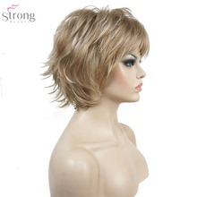 StrongBeauty Womens Wig Black/wine red BFluffy Short Straight Layered Hair Synthetic Full Wigs