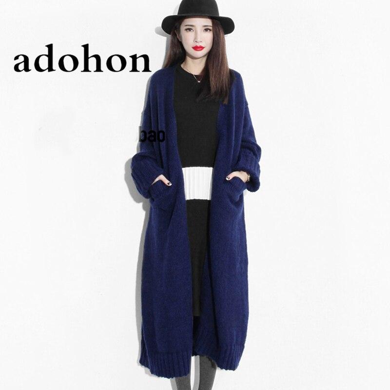 Adohon 2018 Módní Dámské svetry Podzimní Sueter Femme Zimní Tricot Pletené kašmírové Cardigans Vlněné pletené kabáty Top Levné