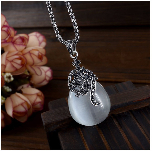 JEXXI Vintage Water Drop Pendant Necklaces Earrings Set  Silver Wedding Engagement Jewelry Sets for Women 5