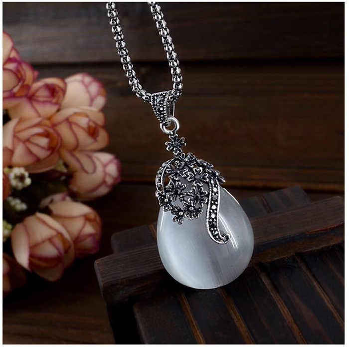 Vintage Wasser Tropfen Anhänger Halsketten Ohrringe Set Silber Hochzeit Engagement Schmuck Sets für Frauen