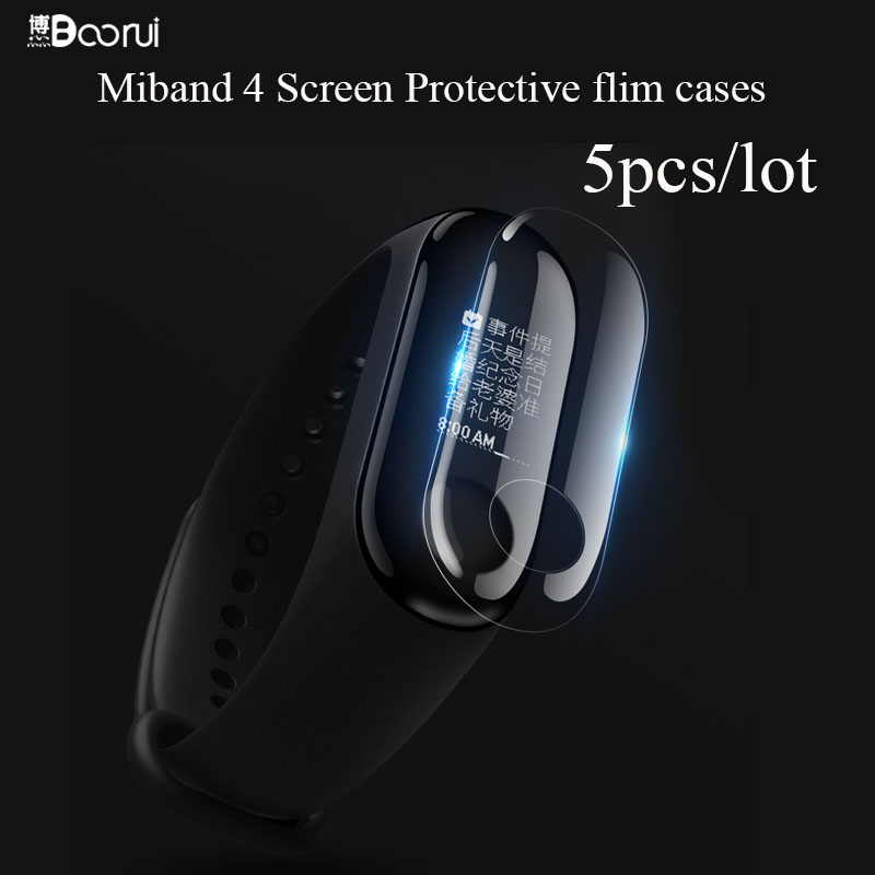 BOORUI 5PCS/lot Miband 4  Screen Protector Films  Anti-Scratch TPU Soft Cases  For Xiaomi NFC Mi Band 4 Smartband
