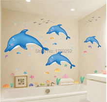 2015 Free shipping Cartoon dolphin wall stickers PVC environmental protection stickers