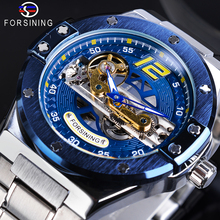 Forsining Mechanical Male Watch Racing Blue Transparent Bridge Steel Strap Wrist Watches Waterproof Mens Clock Relogio Masculino