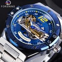 Forsining Mechanische Männliche Uhr Racing Blau Transparent Brücke Stahl Strap Handgelenk Uhren Wasserdicht Herren Uhr Relogio Masculino-in Mechanische Uhren aus Uhren bei