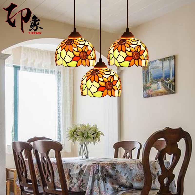 ᑎ‰Tiffany Europea luz colgante de girasol hierro vitral restaurante ...