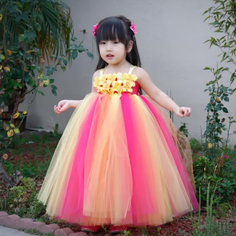 2018 Top quality Fashion Children Girl Dresses Mint Green and Yellow Flower 2-8Year Draped Ball Gown Evening Dress Kids Party 2018 top quality and noble flower girl dresses calcined flower flower 2 12year pretty draped ball gown evening dress kids prom