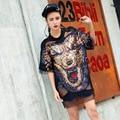 Sequined dog t shirt 2017 women cool black cartoon punk cutout streetwear girl mesh spliced appliques clothing LT108