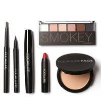 Pro 6Pcs Makeup Suit For FOCALLURE Cosmetics Essential For Beginners Brows Pens Eyeshadow Podwer Lip Eyeliner