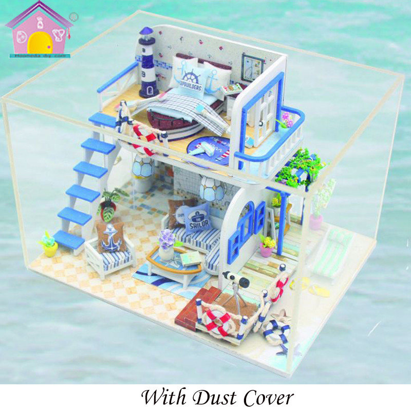 Dolls & Stuffed Toys Diy Miniature Dollhouse Room Kit Clear Summer Villas Little Prince Rose Blue Sea Legend Wooden Christmas Gift Toys For Children Toys & Hobbies