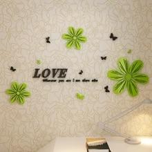 Wall-Stickers Bedroom 3d Acrylic Living-Room Tv-Backdrop Happy-Flower Romantic