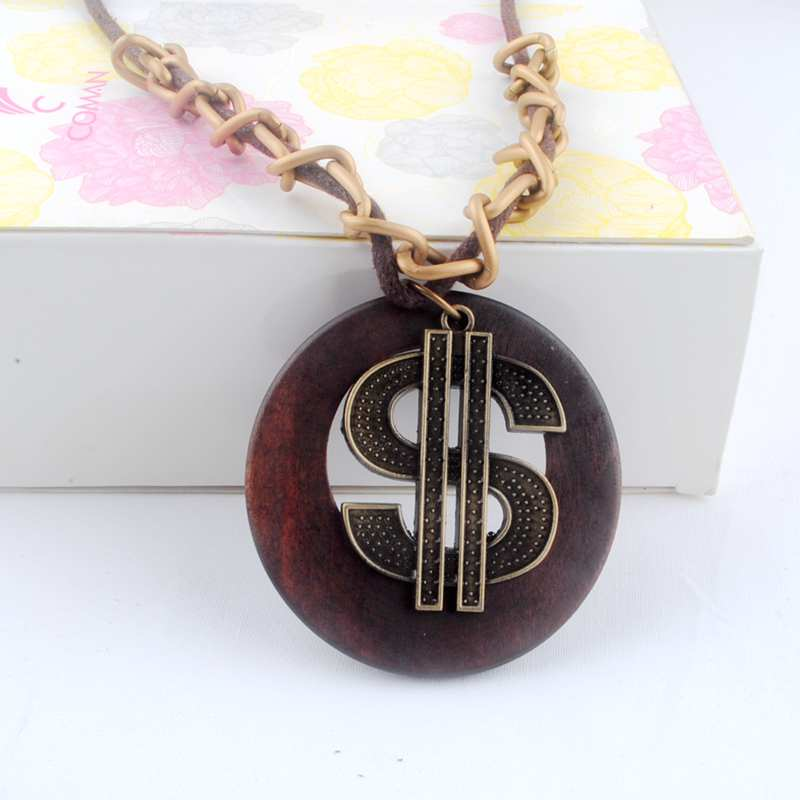 Antique Vintage Long Rope Chain Necklace font b Wooden b font Alloy US Dollars font b