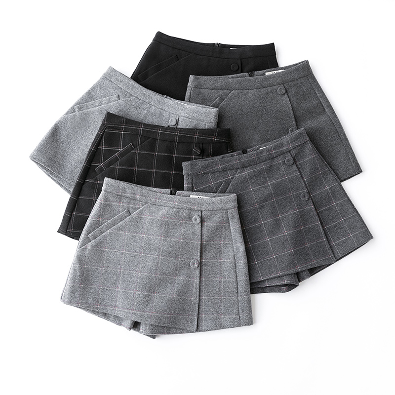 Autumn women's plaid   shorts   korean high waist a line wool   shorts   skirts 2018 winter slim outwear thicken warm booty   short   pants
