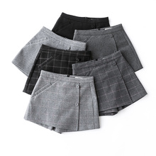 Autumn women s plaid shorts korean high waist a line wool shorts skirts 2018 winter font