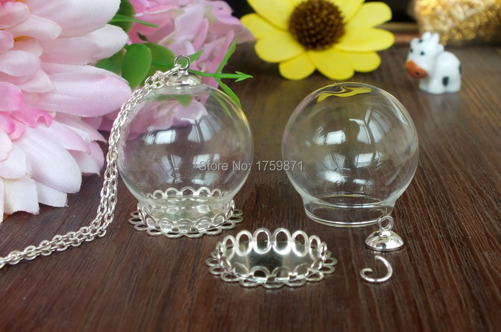 Free Ship! 30setslot DIY 30mm(opening 20mm ) glass globe with silver plated double lace base & cap kit
