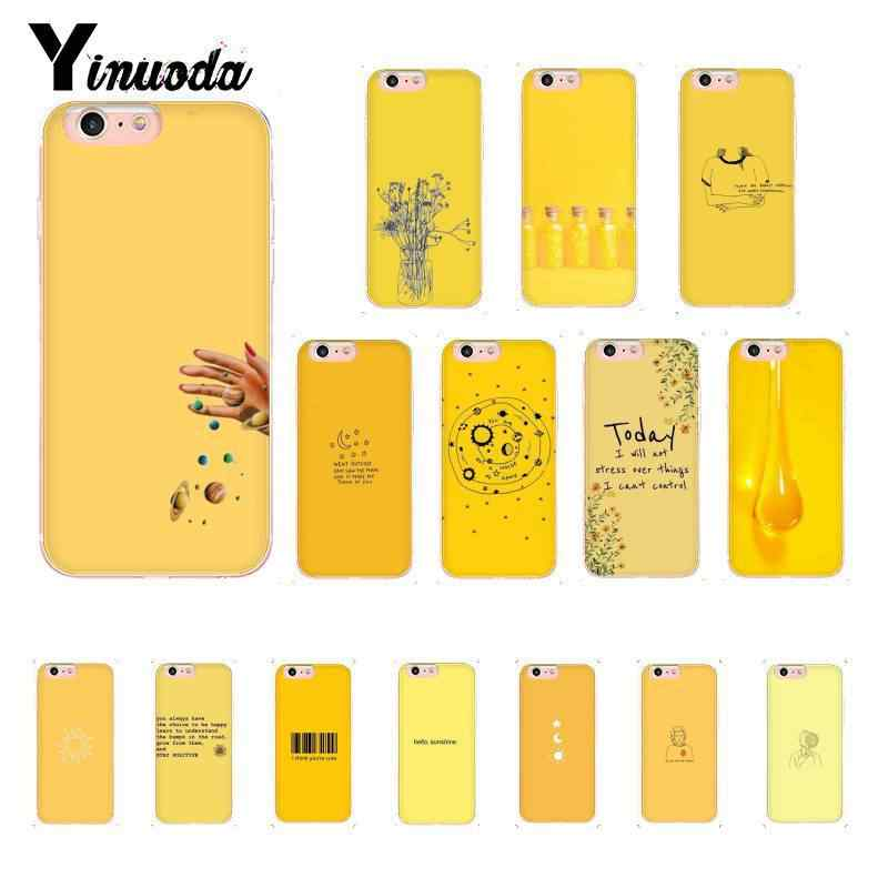 Yinuoda Yellow Aesthetic Soft Silicone TPU Phone Cover for iPhone 8 7 6 6S 6Plus 5 5S SE XR X XS MAX 10 Coque Shell