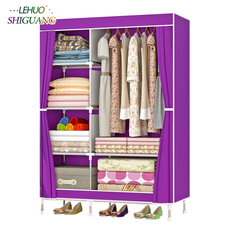 Simple fashion High foot Wardrobe Non-woven Steel frame reinforcement Standing Storage Organizer Detachable bedroom furniture fashion home furniture bedroom non woven fabric family wardrobe standing storage organizer closet cabinet high foot shelf