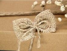 10pcs Handmade Jute Flower bowknot Burlap flower DIY craft supplies vintage Natural favor rustic wedding decoration centerpieces