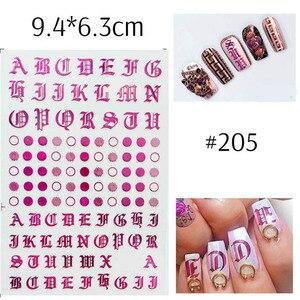 Image 4 - 1pc Lettera Gotica 3D Nail Sticker Oro Rosa Parole Cursore Decalcomanie Autoadesivo Adesivo Del Chiodo Punte del Manicure di Unghie Artistiche Decorazione