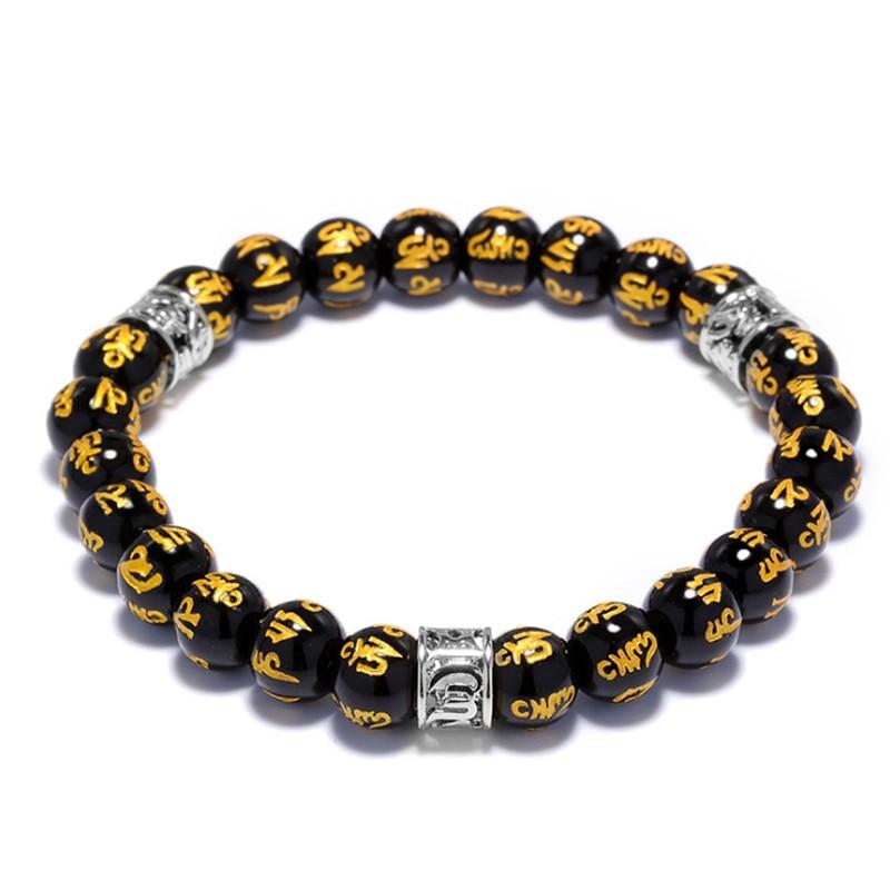 цена на High Quality Natural Black Onyx Mantra Beads Buddha Bracelet For Women Charm Strand Men Bracelets Handmade Rosary Jewelry Gifts
