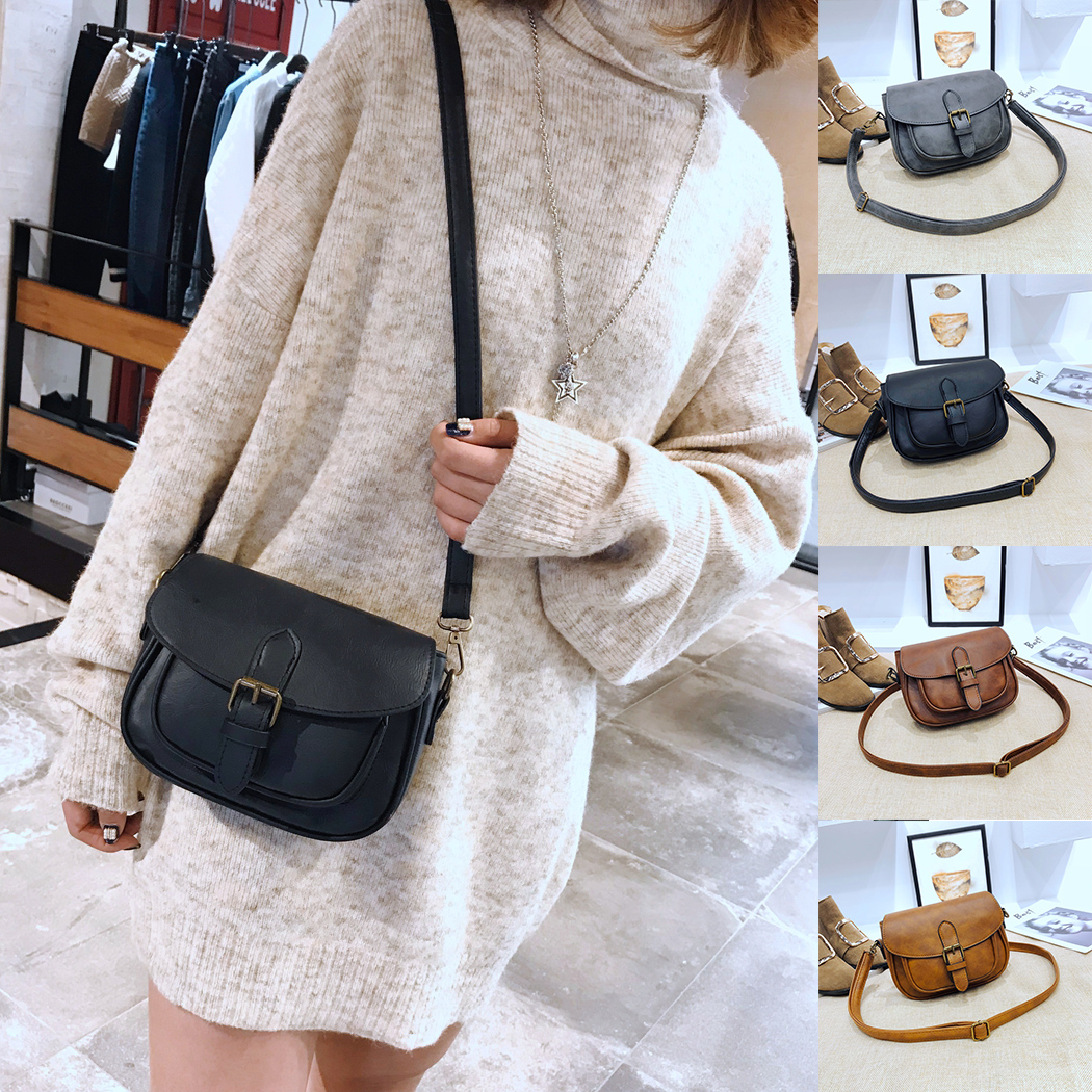 2018 Retro New Women Casual Buckle Crossbody Messanger Bag Women Small Square Leather Si ...