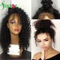 7A Brasileño Rizado Rizado Encaje Completo Pelucas de Cabello Humano Glueless frente Pelucas Del Pelo Humano Para Las Mujeres Negras Del Cordón Rizado Afro rizado peluca