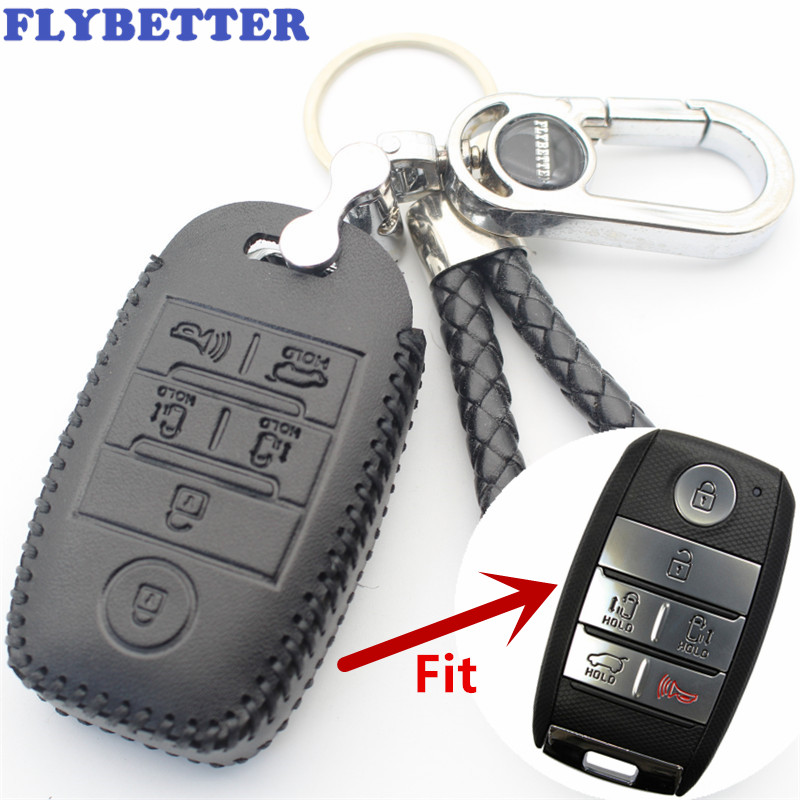 FLYBETTER Genuine Leather 6Button Keyless Entry Smart Key Case Cover For Kia Sedona/Grand/Carnival/Sorento Car Styling (B)  L507