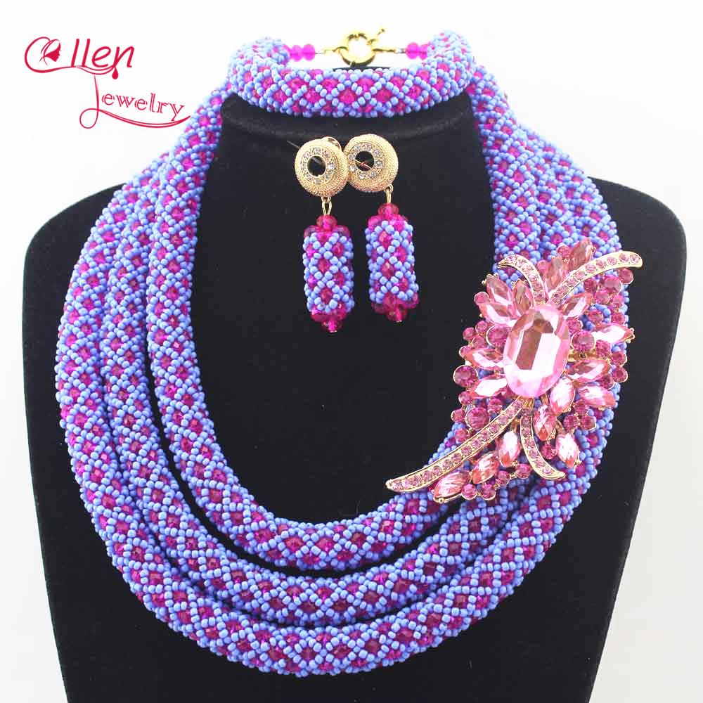 цена Newest Nigerian Wedding jewelry sets Accessories bridal African Beads Jewelry Set Handmade Necklace Sets Bracelet Earrings N0022 онлайн в 2017 году