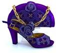MM1008 Африканских Высоких Каблуках Сопоставления Мешок с фиолетовый цвет свадьба 2017 Итальянская Обувь И Сумка Набор для Доставки размер 38-43