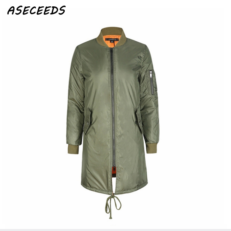 Winter long   jackets   and coats 2019 spring female coat casual Army Green bomber   jacket   women   basic     jackets   padded zipper outwear