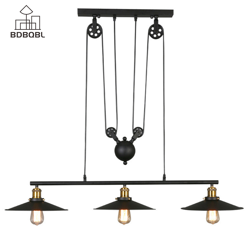 BDBQBL Retro Industrial Decor Metal Pendant Lights 1/3 Heads Black Iron Loft Hanging Lamp E27/E26 Bulb Bedroom Kitchen HanglampBDBQBL Retro Industrial Decor Metal Pendant Lights 1/3 Heads Black Iron Loft Hanging Lamp E27/E26 Bulb Bedroom Kitchen Hanglamp
