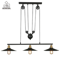 BDBQBL Retro Industrial Decor Metal Pendant Lights 1/3 Heads Black Iron Loft Hanging Lamp E27/E26 Bulb Bedroom Kitchen Hanglamp
