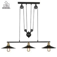 BDBQBL Retro Industrial Decor Metal Pendant Lights 1/3 Heads Black Iron Loft Hanging Lamp E27/E26 Bulb Bedroom Kitchen Hanglamp